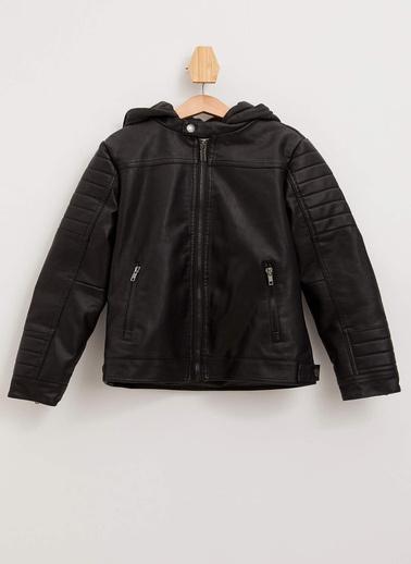 DeFacto Kapüşonlu Deri Ceket Siyah